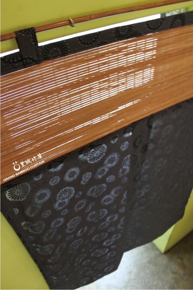 日式和風透視花門簾【JB630鐵灰煙花/伸縮桿】台灣桂竹簾和風花布/風水簾擋煞