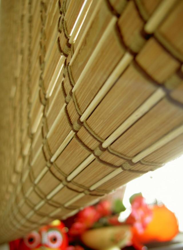 【型號:671】碳化寬片+米色細竹條和風編織竹簾
