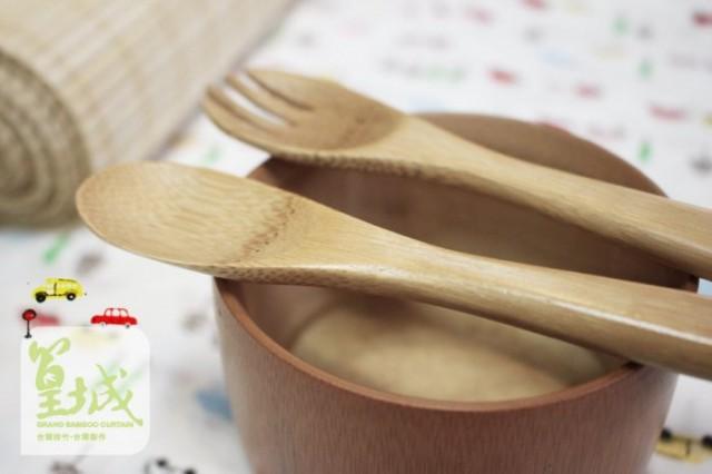 純天然竹製【兒童餐具匙叉組】含湯匙、兒童叉
