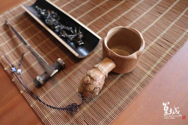 【篁城竹簾】台灣茶道用品〔竹根手柄茶濾〕茶蓆/中日式茶道專用濾茶器,過濾茶葉